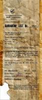 Garancijski list zavornih ploscic za G2-Galeb
